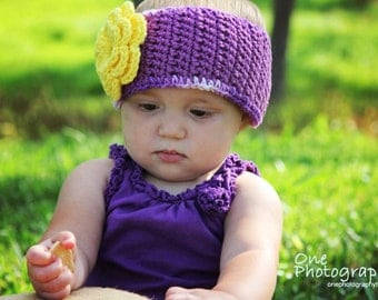PDF Crochet Pattern Cotton Ear Warmer with Flower Blossom