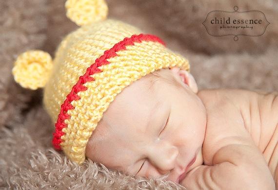 Newborn Pooh Bear Beanie Photo Prop