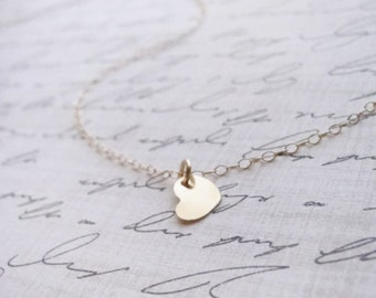 Little gold heart disk necklace - gold necklace with heart - 1320