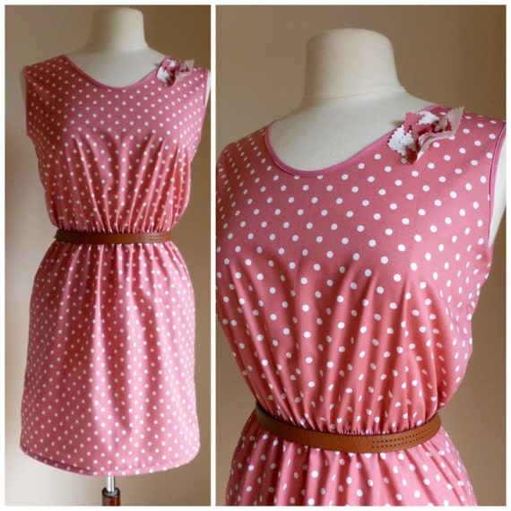 Polka dot Dusty Pink Tea Dress - 1940's inspired handmade cotton day dress with brooch. Made to measure