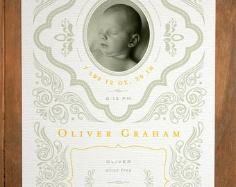Birth Announcement (Gray Flourish - Boy) - Modern, Contemporary
