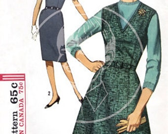 Vintage Dress Pattern Illustration (5209) - 10x15 Giclée Canvas Print