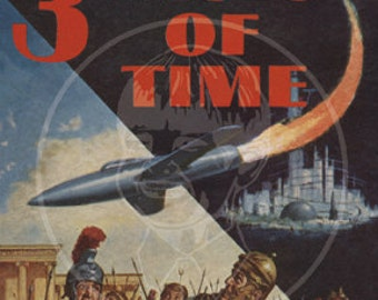 3 Faces of Time - 10x16 Giclée Canvas Print of a Vintage Pulp Paperback Cover