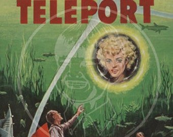 Time to Teleport - 10x16 Giclée Canvas Print of a Vintage Pulp Paperback Cover