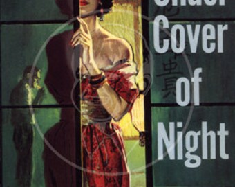 Under Cover of Night - 10x15 Giclée Canvas Print of a Vintage Pulp Paperback cover