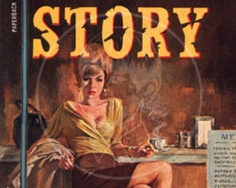Night Story - 10x17 Giclée Canvas Print of Vintage Pulp Paperback