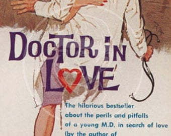 Doctor in Love - 10 x 17 Giclée Canvas Print of a Vintage Pulp Paperback Cover