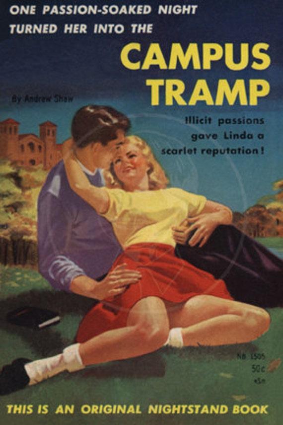 Campus Tramp - 10x15 Giclée Canvas Print of Vintage Pulp Paperback