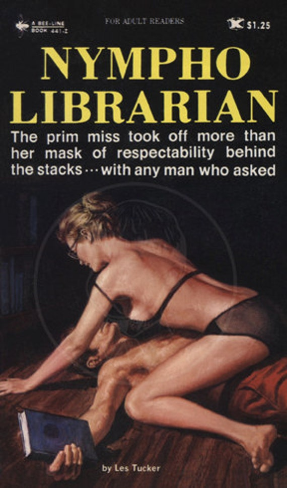Nympho Librarian - 10 x 17 Giclée Canvas Print of Vintage Pulp Paperback