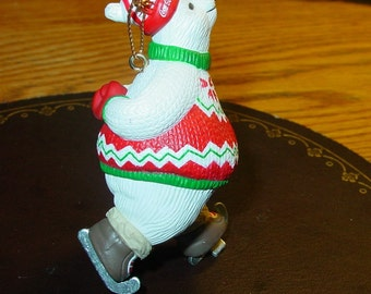 Coca Cola Polar Bear, Retro Holiday Tree Ornament, Ice Skating Ornament, Advertising Collectible