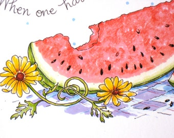 Watermelon Kitchen Print - Mark Twain Quote - When One Has Tasted Watermelon
