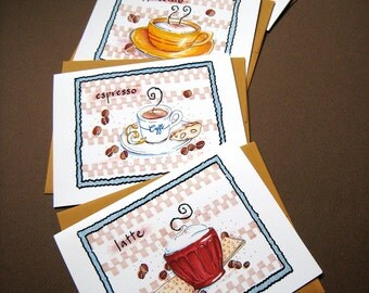 Coffee Cards - Coffee Lover Gift Stationery - Boxed Set of 4 Note Cards