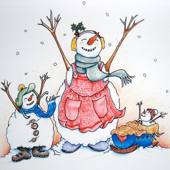 Cute Christmas Card - Snowman Family Christmas