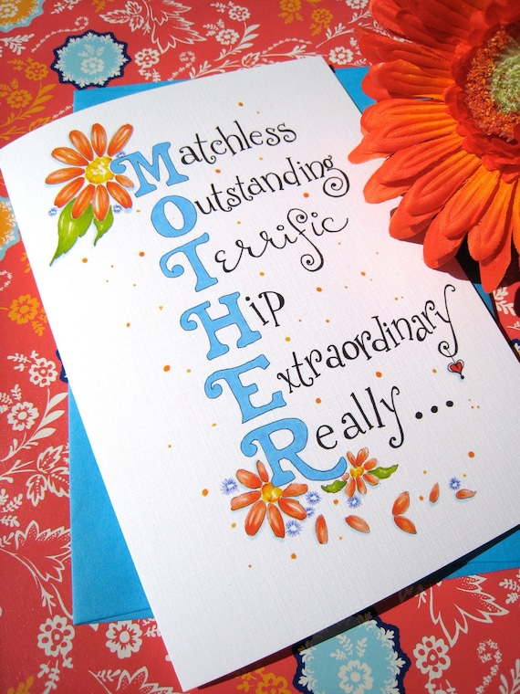 Mothers Day Card Mothers Day Floral Gerbera Daisies Card – Birthday Greetings for Mother