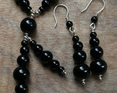 Black Onyx Necklace and Earrings - Unique Pendant, Statement Jewellery Set, Modern Semi Precious Gemstone Necklace