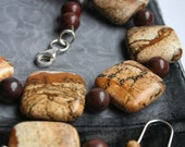 Picture Jasper Necklace and Earrings - Earthy Natural Jewelry Set, Semi Precious Gemstone, Earth Mother, Hippy Chic Jewelry
