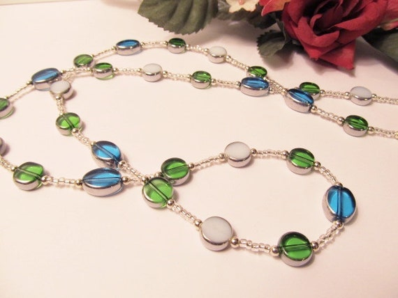 Aqua, Green and White Glass Silver Lined Bead Long Necklace