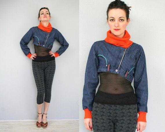 RESERVED Denim jacket with bright neon orange collar, upcycled striped jeans, cropped denim jacket, eco friendly unique denim jacket