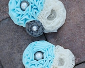 Adult and child accessory-A Tiffany blue floweret paired with cream lace floweret and gray rosette. embellished with buttons.