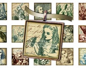 "Alice in Wonderland with Victorian Textures - 5/8"" x 5/8"" Squares - Digital Collage Sheet - Instant Download and Print - Digital JPEG"