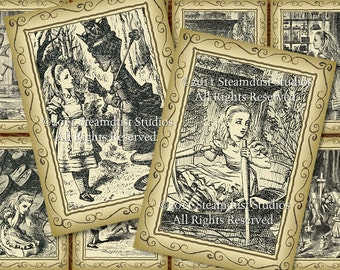 """Victorian Alice in Wonderland - (8 total) 2.5x3.5"""" Digital Tags, Cards, Labels - Lewis Carroll, Mad Hatter, Tea Party - Download, Printables"""