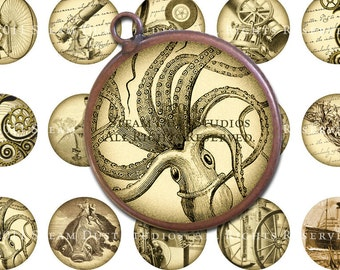 Steampunk Images - 32mm Circles - Kraken, Airships, Balloons, Jules Verne, H.G. Wells - Digital Collage Sheet - Instant Download and Print
