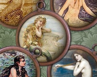 Victorian Vintage Mermaids Digital Collage Sheet - 1 inch Circles - Sea Nymphs, Sirens - Mermaid Printables - Mermaid Digital Download