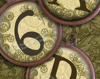 Textured Steampunk Alphabet and Numbers - 1 Inch Circles - Digital Collage Sheet - Instant Download and Print