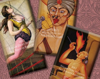 Vintage Circus & Sideshow - 1x2 Inch Domino Tile Images - Digital Collage Sheet Instant Download and Print