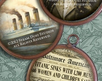 Victorian Steampunk Titanic 100-year Anniversary - 30mm Circles - Instant Download and Print - Digital Collage Sheet -