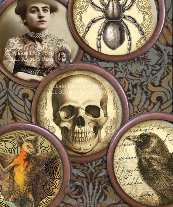 Victorian Goth Digital Collage Sheet - Poe, Lovecraft, Skulls, Vampire Bats, Owls, Ravens, etc. - 1 inch Circles - Victorian Goth Printables