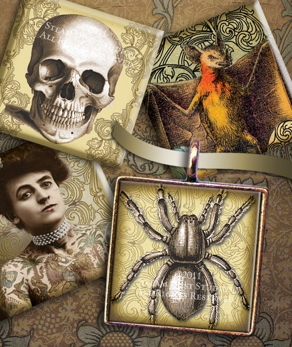 Victorian, Goth, Poe, Lovecraft, Skulls, Vampire Bats, Halloween - 1 Inch Square Images - Digital Collage Sheet - Victorian Goth Printables