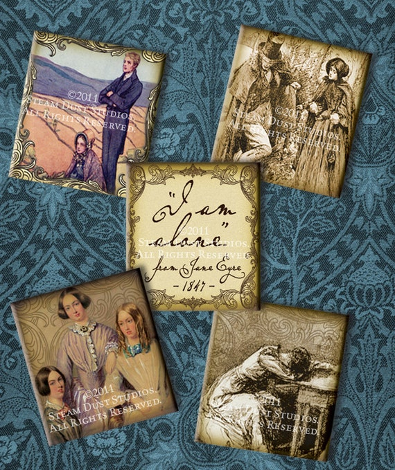 Jane Eyre - Bronte - Victorian Literature - .75 x .83 inch Scrabble Tile Images - Digital Collage Sheet - Instant Download & Print