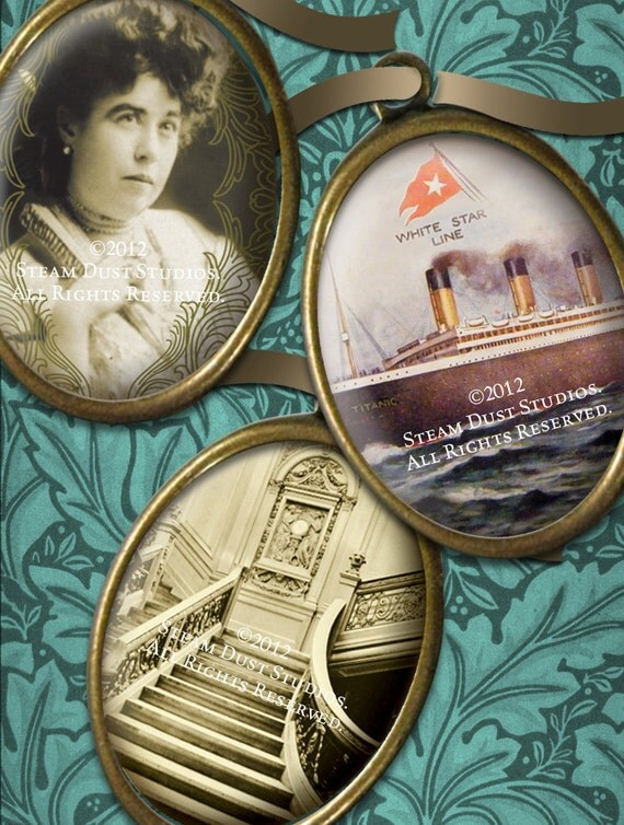 30x40mm Oval Images - Titanic 100-year Anniversary - Victorian Steampunk - Digital Collage Sheet - Instant Download