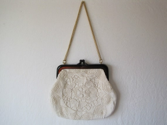 vintage off-white handbag with crocheted detail