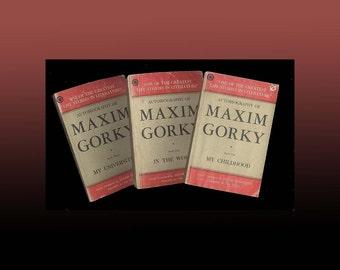 Maxim Gorky Autobiography - 3 Volume Paperback Set Published in Bombay India Vintage Book