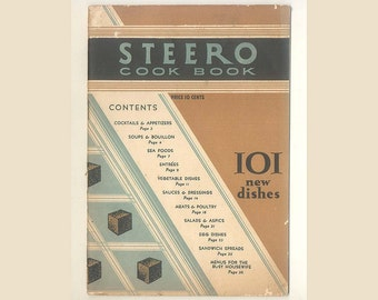 Steero Bouillon Cubes Cook Book, Vintage Advertising Pamphlet  from 1927, Nifty Art-Deco Cover, Cute Vignette