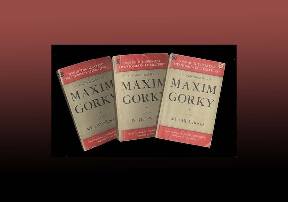Maxim Gorky Autobiography - 3 Volume Paperback Set Published in Bombay India Vintage Book