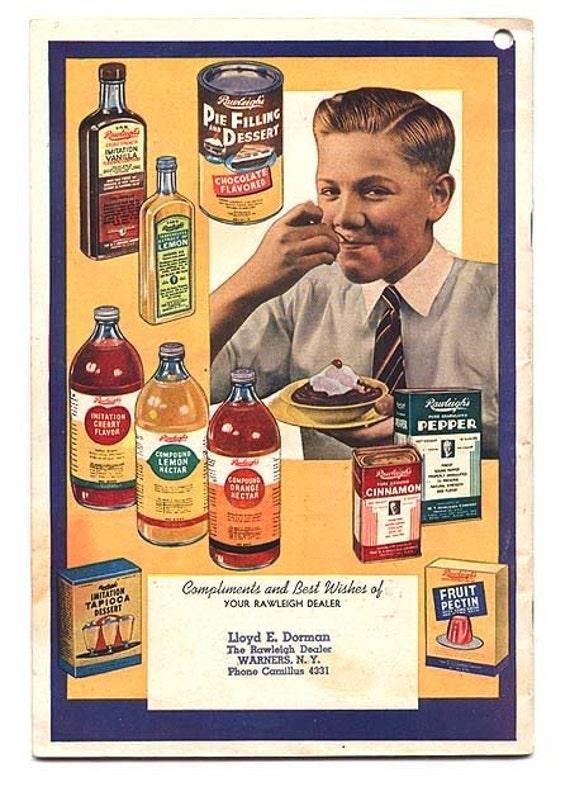 Rawleigh Almanac and Cook Book Vintage  Recipes 1949 Advertising Booklet, Lovely Paper Ephemera Vintage Book