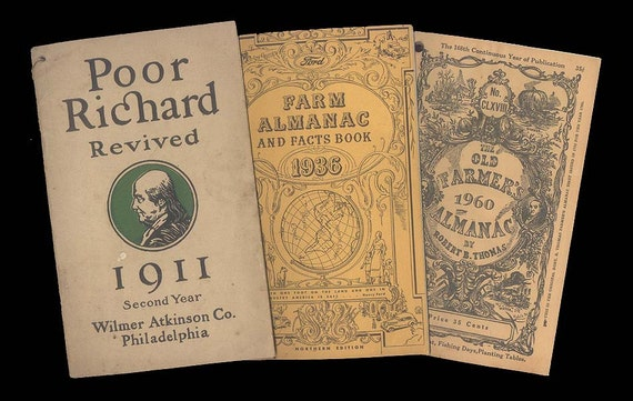 Three Old Almanacks - Poor Richard Revived 1911, Henry Ford Farm Almanac and Fact Book 1936, Farmers 1960 - Treasury Item