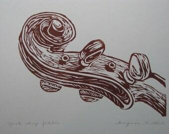 "Fiddle scroll block print - ""Junk shop fiddle"""