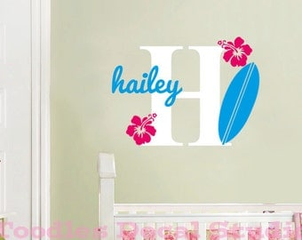 Surfboard Wall Decal - Beach Nursery Decor - monogram decal for girls room - surfing wall decals for kids room