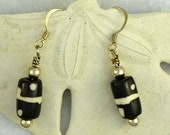 Sterling Silver Black and White earrings.  Domino dangles.