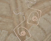 Sterling Silver wire dangle earrings.  hand forged  Square spirals.