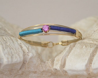 14K gold filled wire wrapped bangle bracelet with pink cz turquoise purple accents Size 7