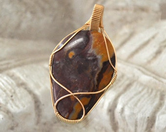 mookaite jasper pendant.  Wire wrapped stone pendant in14K gold filled