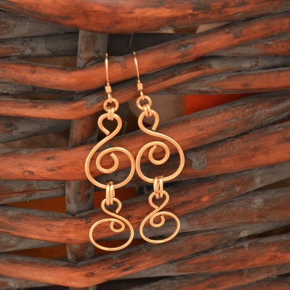 14K gold filled chain earrings. handmade  double spirals or choose in Sterling silver