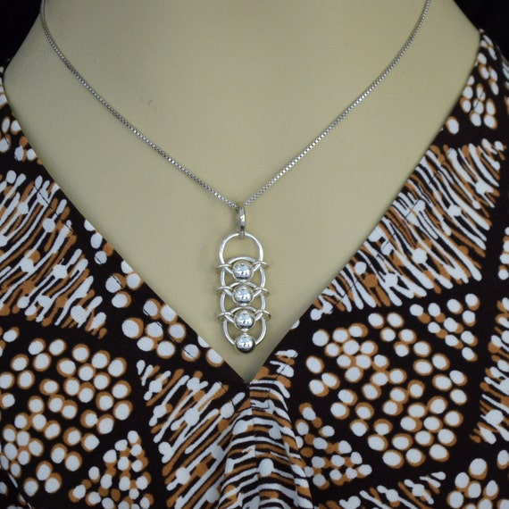 """925 Sterling Silver necklace.  Artisan designed.  """"Dragon Scales""""  medium"""