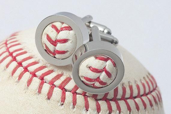 7 Pairs Game Used Baseball Cufflinks (Groomsmen Set of 7)