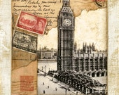 "London Postmark , Big Ben Clock Tower 11""x14"""